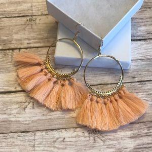 Jewelry - Peach Tassel Boho Earrings NEW